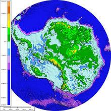 Topografia subglacial i batimetria de roca subjacent per sota de la capa de gel de l'Antàrtida