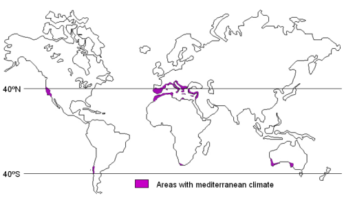 Zones de clima mediterrani